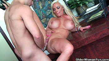 blond the kitchen milf by bent black over counter gets guy Busty bbw cougar horny
