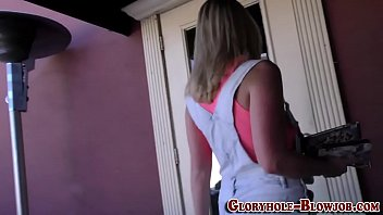 black sporty shaft the takes gym blonde at Amature shy strip